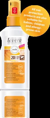 Onmiddellijke en betrouwbare bescherming -makkelijk in gebruik De lichte emulsie van de nieuwe lavera Sun sensitiv Sun Spray SPF 20 met 100% minerale UV-filters biedt een betrouwbare bescherming tegen de zon en zachte verzorging in één. De verbeterde formule van de spray maakt het makkelijk uit te smeren en daarom eenvoudig en snel in gebruik, is waterproof en werkt onmiddellijk na het aanbrengen. € 13,95